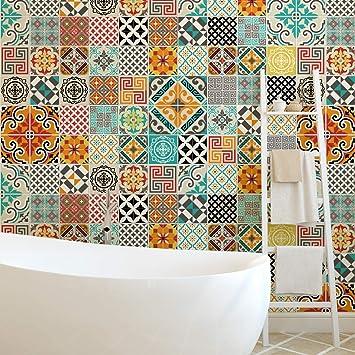 Stickers adhésifs carrelages | Sticker Autocollant Carreaux de ciment -  Mosaïque carrelage mural salle de bain et cuisine | Carreaux de ciment  adhésif ...