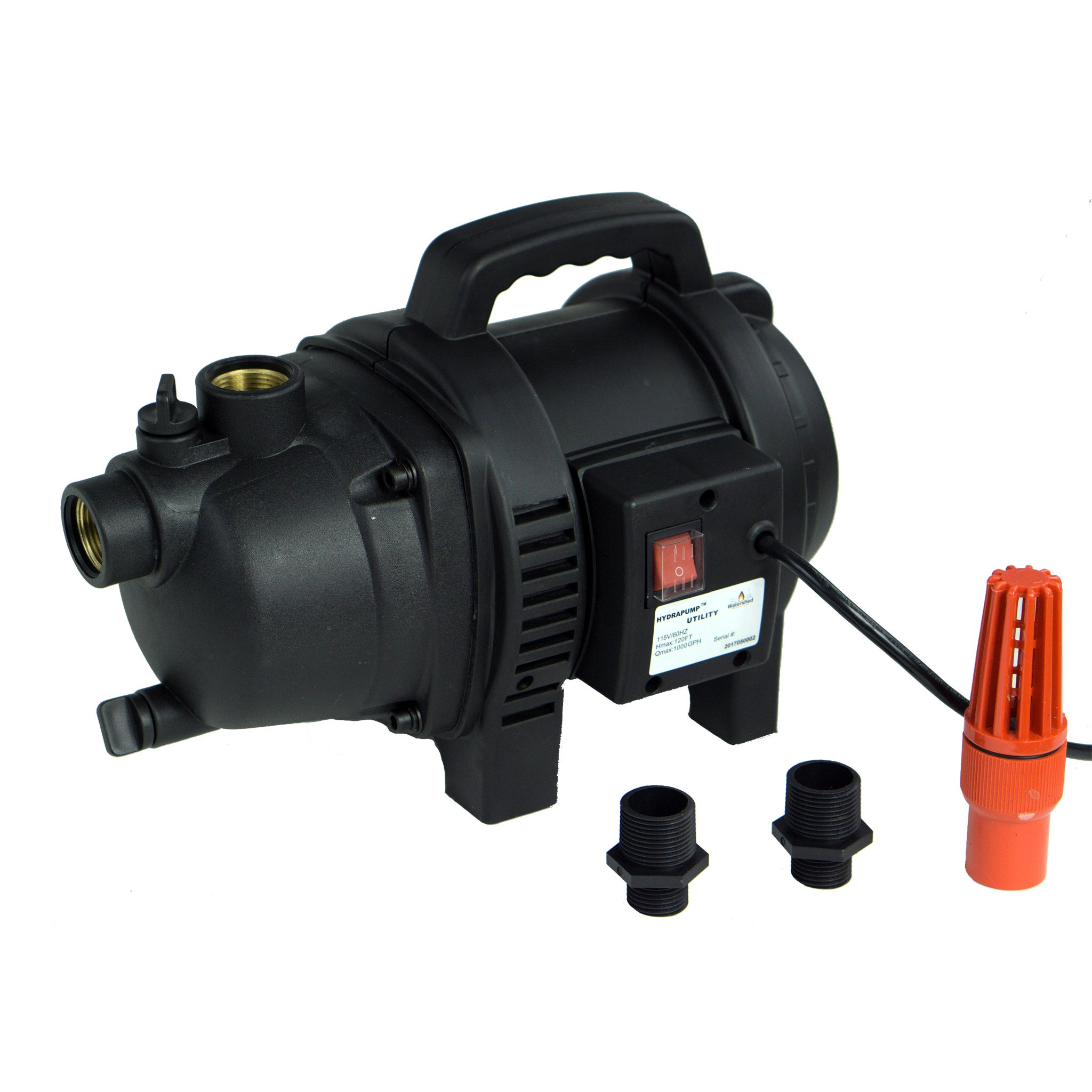 HydraPump Utility – 120V 1HP 1,000 GPH Powerful and Lightweight Utility Water Pump with Two 3/4'' Garden Hose Adapters and Bonus foot Valve by Watershed Innovations