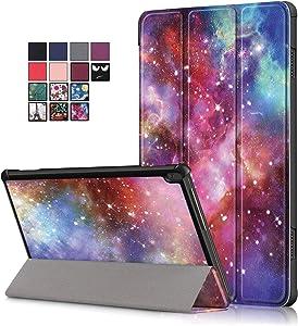 10.1 inch Tablet Case for Lenovo Tab M10 (TB-X505F/ TB-X605F), DETUOSI Ultra Slim Premium Folding Stand Cover Case for Lenovo Tab M10 10.1 inch Tablet Model: TB-X505F/ TB-X605F, Milky Way