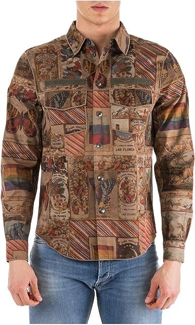 Valentino Camisa de Mangas largas Hombre marrón EU 46 (UK 36) MV3CI120440 SC0: Amazon.es: Ropa y accesorios