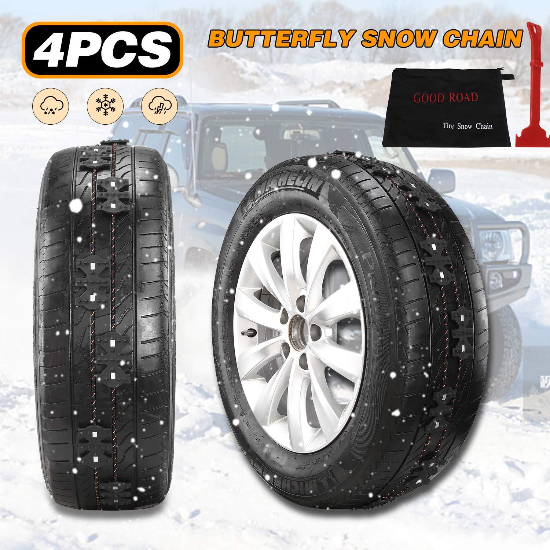 Leepesx 4pcs invierno antideslizante cadena de emergencia antideslizante universal negro kit de cadenas de nieve para coche cami/ón SUV MPV auto accesorios para autom/óviles con raspador de nieve