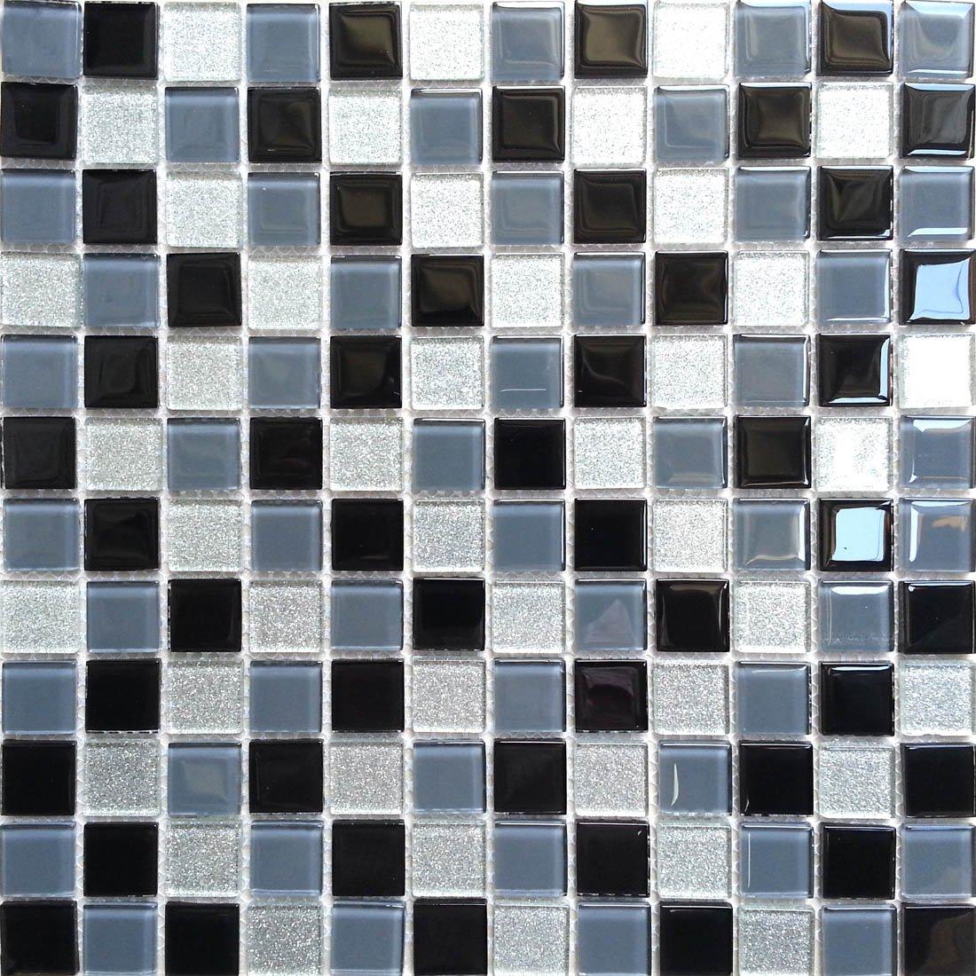 Grau und Silber mit Glitzer 1qm Glas Mosaik Fliesen Matte Schwarz MT0014 m2