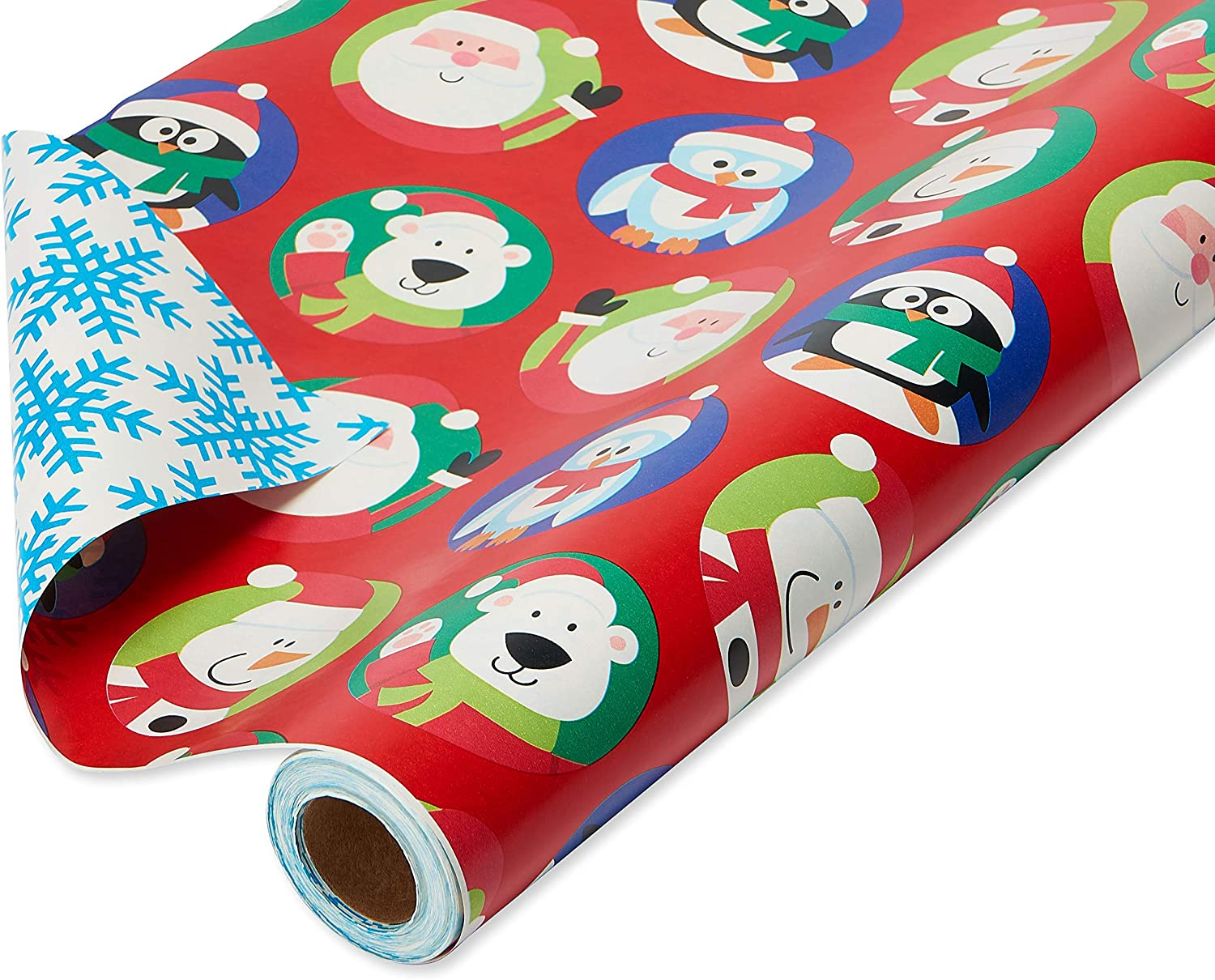 American Greetings Christmas Wrapping Paper Reversible Jumbo Roll, Santa and Snowflakes (1 Pack, 175 sq. ft.)