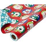 American Greetings Christmas Wrapping Paper Reversible Jumbo Roll, Santa and Snowflakes (1 Pack, 175 sq. ft.)