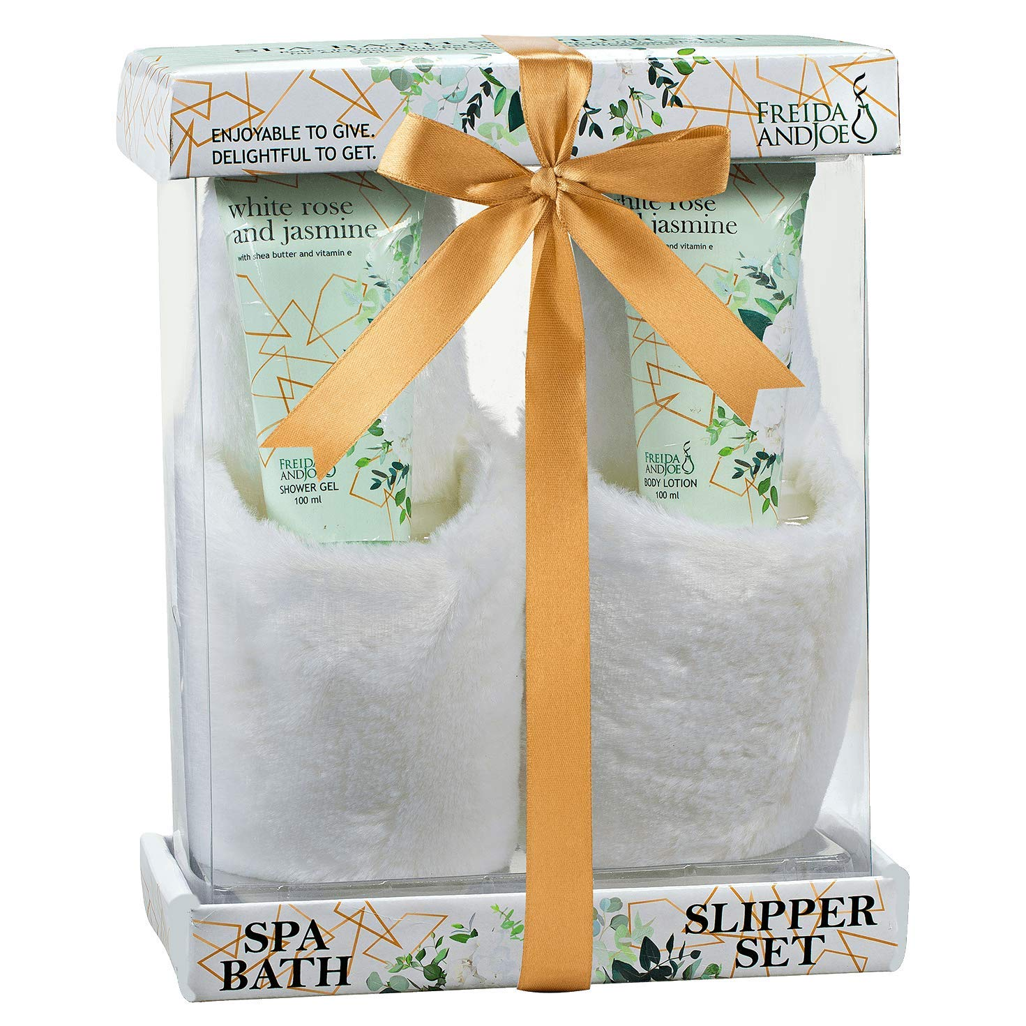 Home Spa Slippers Set Bath Gift Basket - White Rose Jasmine Fragrance - Luxury Bath & Body Set For Women - Contains Body Lotion and Shower Gel, Plush Cozy Close Toe Slippers Perfect for Holiday