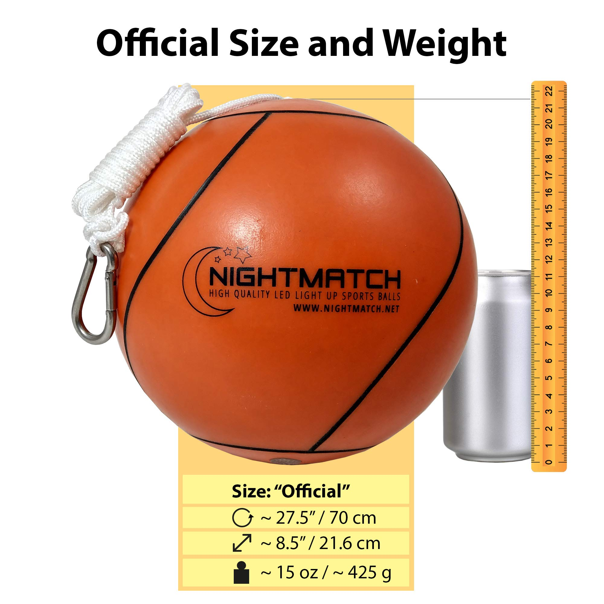 NIGHTMATCH Light Up Tetherball INCL. Ball Pump & Spare Batteries - Inside LED Lights up When Bounced - Glow in The Dark Tetherball - Tether Ball - Official Size & Weight by NIGHTMATCH (Image #4)
