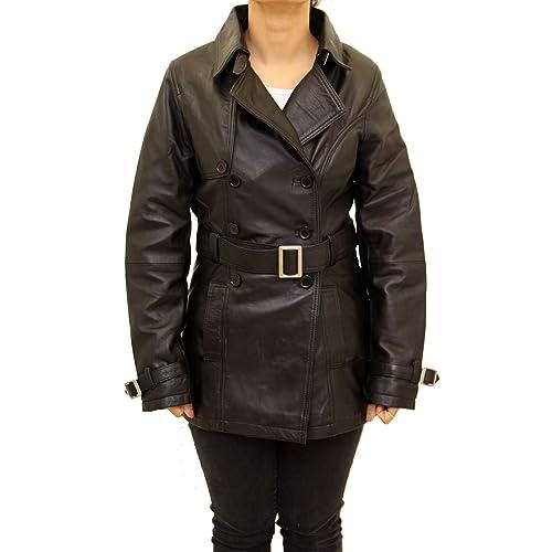A to Z Leather - Abrigo - Clásico - Manga Larga - para mujer