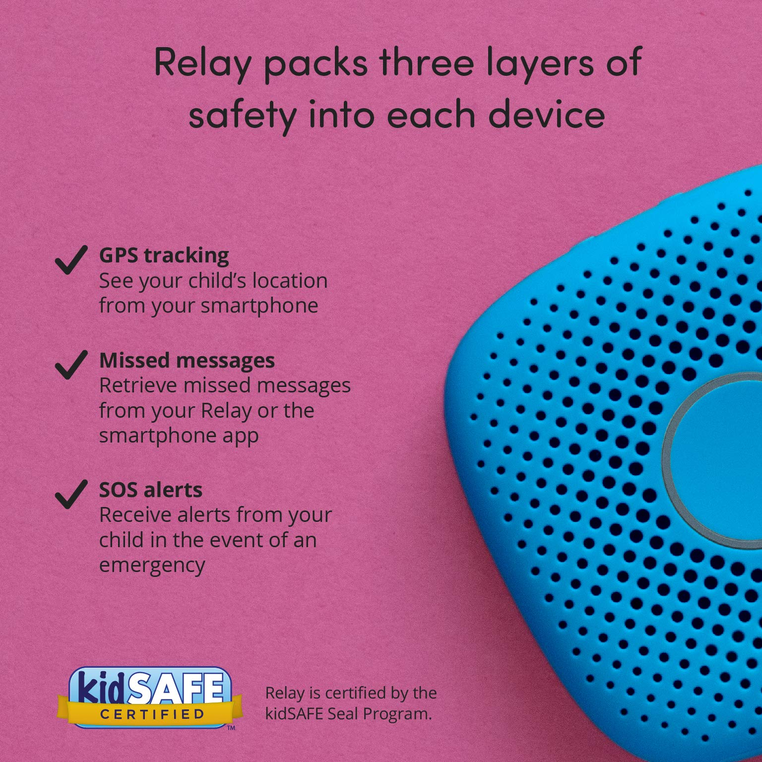 Relay Kids Phone Alternative: A Screen-Free Smarter Phone with 4G LTE Nationwide Range, Walkie Talkie Ease, and a GPS Tracker fo by Relay (Image #8)