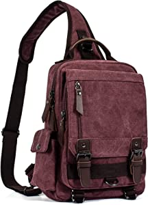 Leaper Canvas Messenger Bag Sling Bag Cross Body Bag Shoulder Bag Red, M