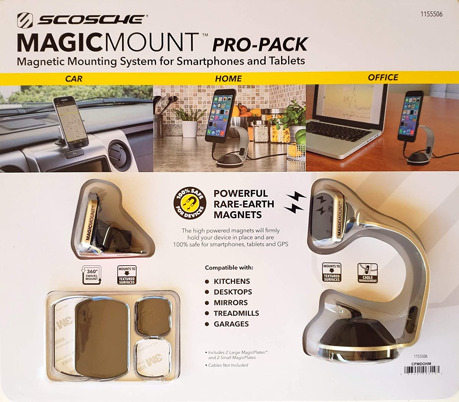 SCOSCHE MagicMount Pro-Pack Universal Fit Magnetic Mounting System for Smartphones and Tablets