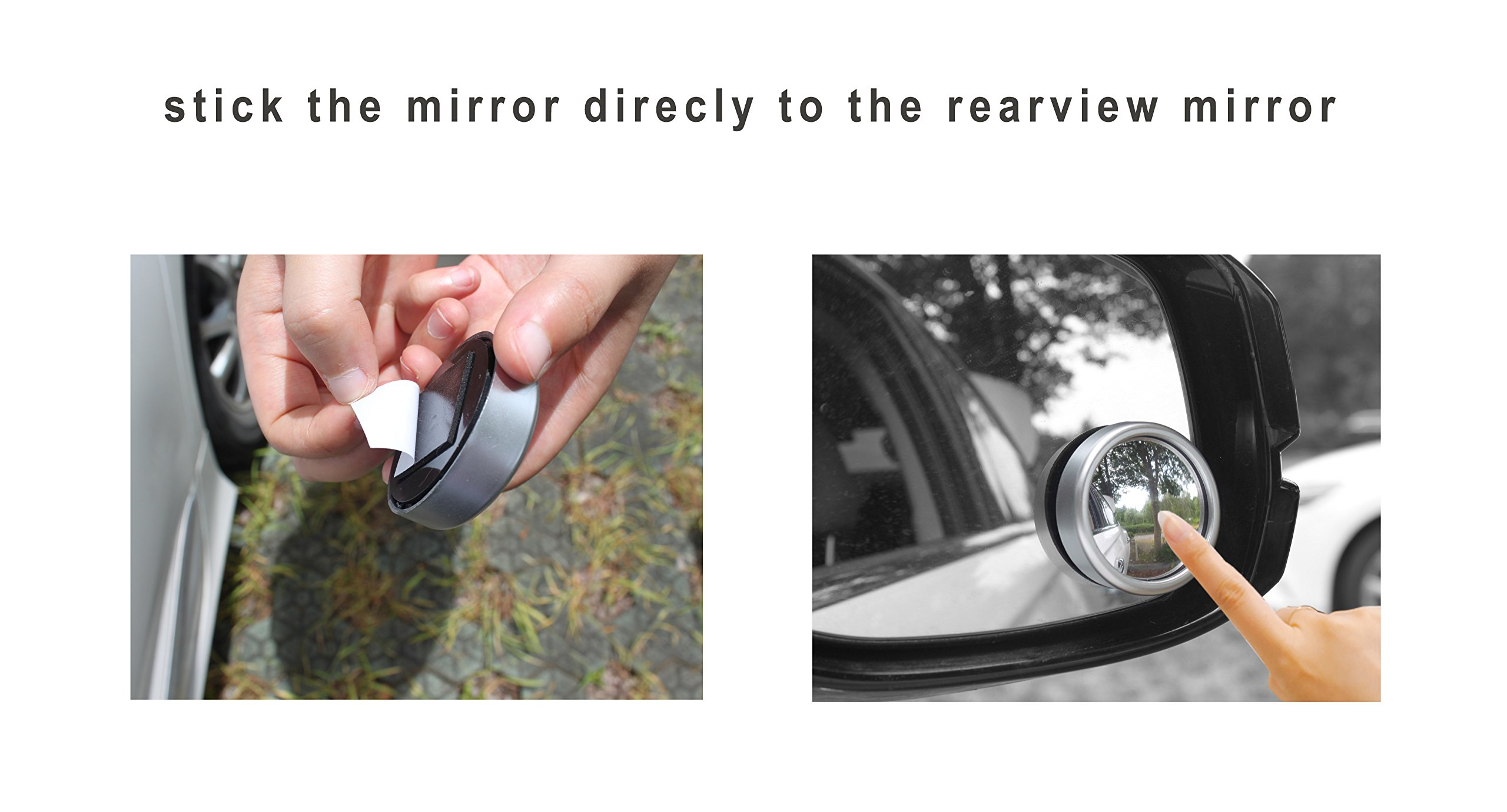 Durapower Blind Spot Mirror, 2'' Round HD Glass Convex Rear View Mirror, Pack of 2 by Durapower (Image #4)