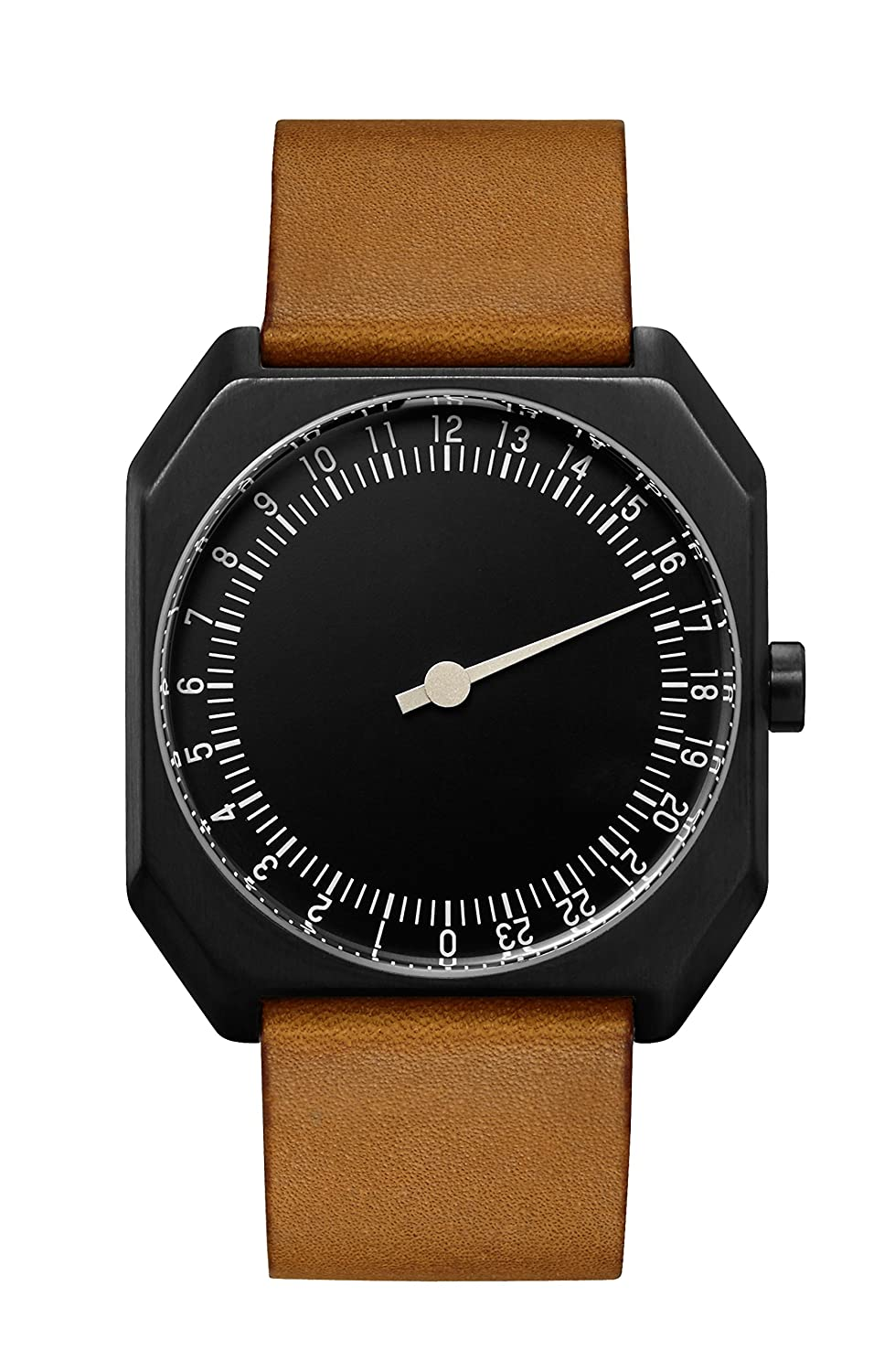 Amazon.com: slow Jo 19 - Swiss Made one-hand 24 hour watch - Black with brown leather band: The guys who do slow: Watches