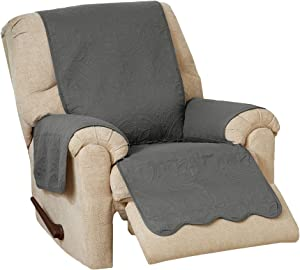 Great Bay Home Medallion Stitched Solid Furniture Protector. Stain Resistant Durable Furniture Protector. Elenor Collection. (Recliner, Mid Gray/Light Gray)