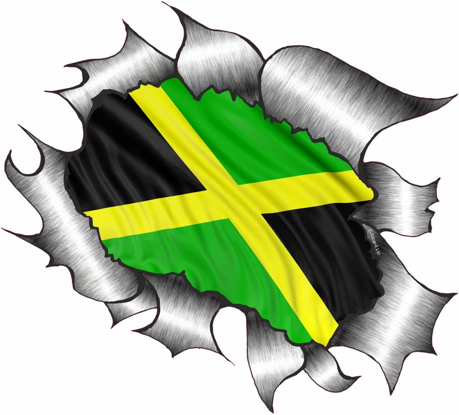 Jamaica Jamaican Flag Emblem Screw On Car License plate Decal badge