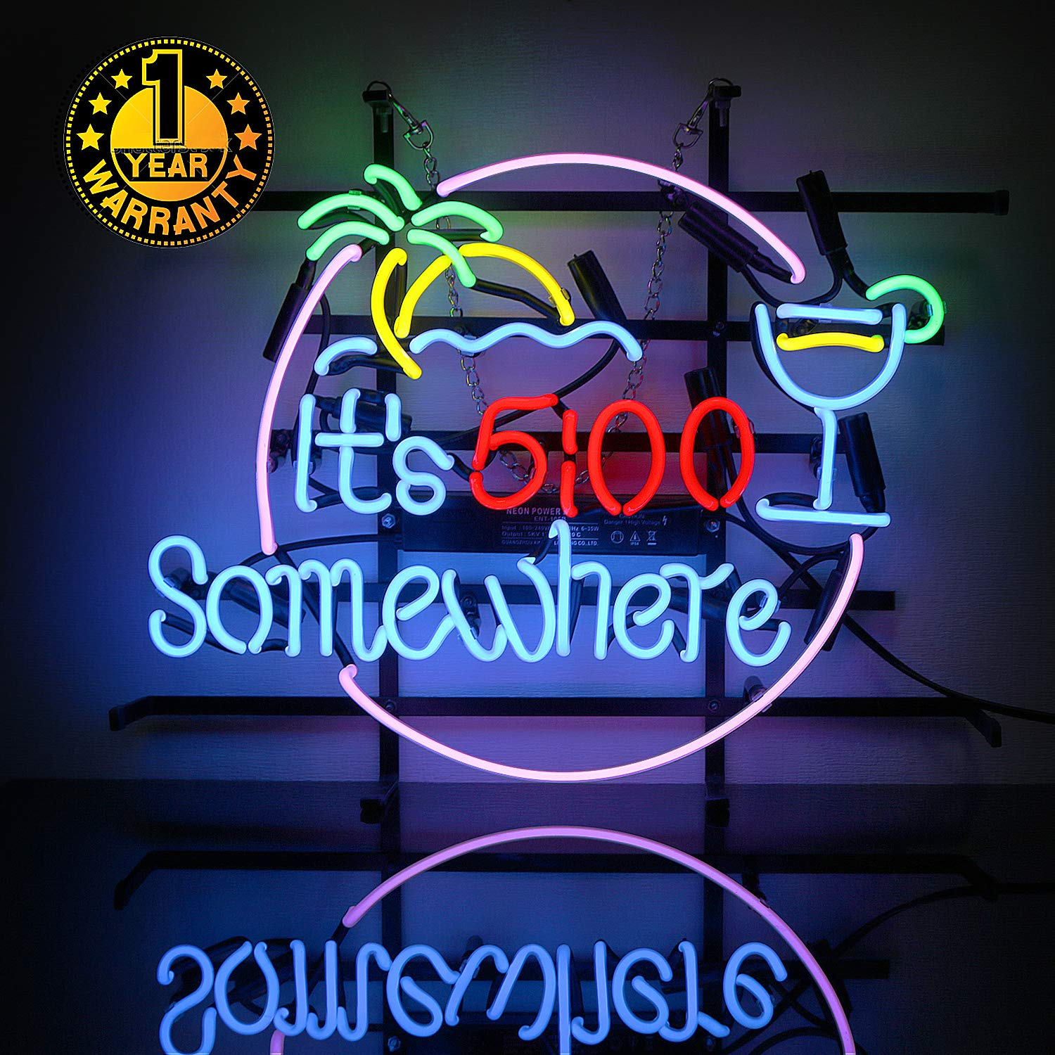 Neon Signs It's 5:00 Somewhere Neon Light Sign Led Neon Lamp, Wall Sign Art  Decorative Signs Lights, Neon Words for Home Bedroom Room Decor Bar Beer