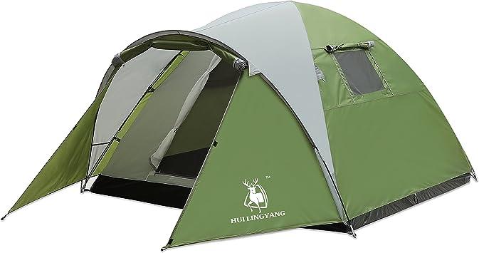 Amazon   HUI LINGYANG テント アウトドア 3-4人用 コンパクト 前室 ...