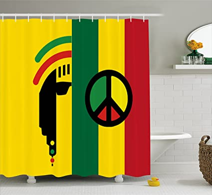 Good Ambesonne Rasta Shower Curtain, Iconic Barret Reggae And Jamaican Music  Culture With Peace Symbol And