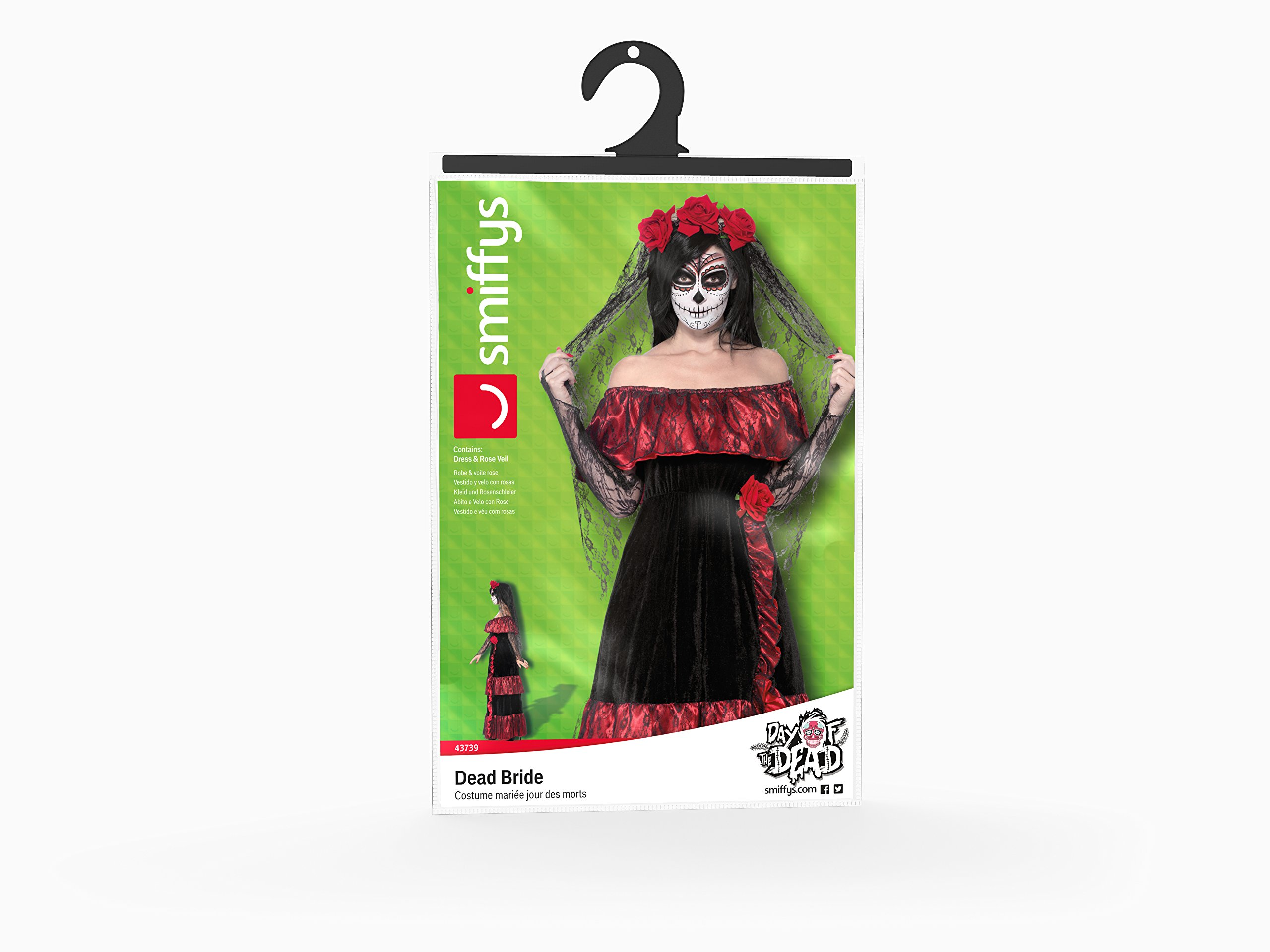 Smiffy's Women's Day The Dead Bride Costume, Dress Rose Veil, Day The Dead, Halloween, Size 10-12, 43739 by Smiffy's (Image #5)