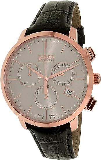 3a3a28066c2 Hugo Boss Men s 1513264 Black Leather Swiss Quartz Watch  Hugo Boss   Amazon.ca  Watches