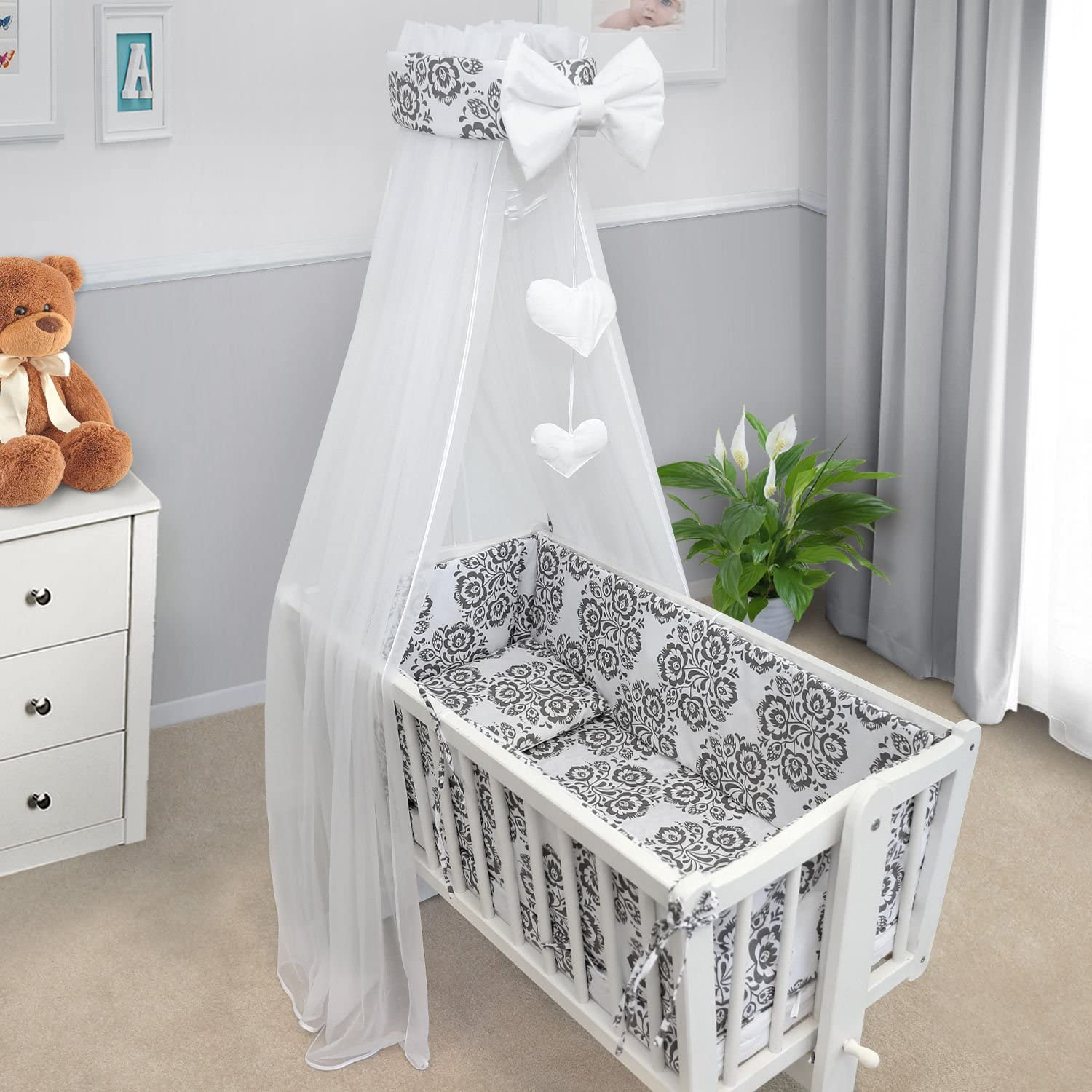 Baby Canopy Crib Drape Mosquito NET with Holder to FIT Crib Dino Green