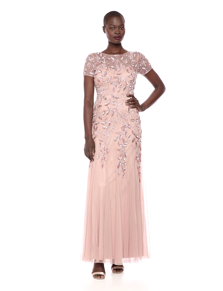 15445d7126d Amazon.com  Adrianna Papell Women s Floral Beaded Godet Gown  Clothing