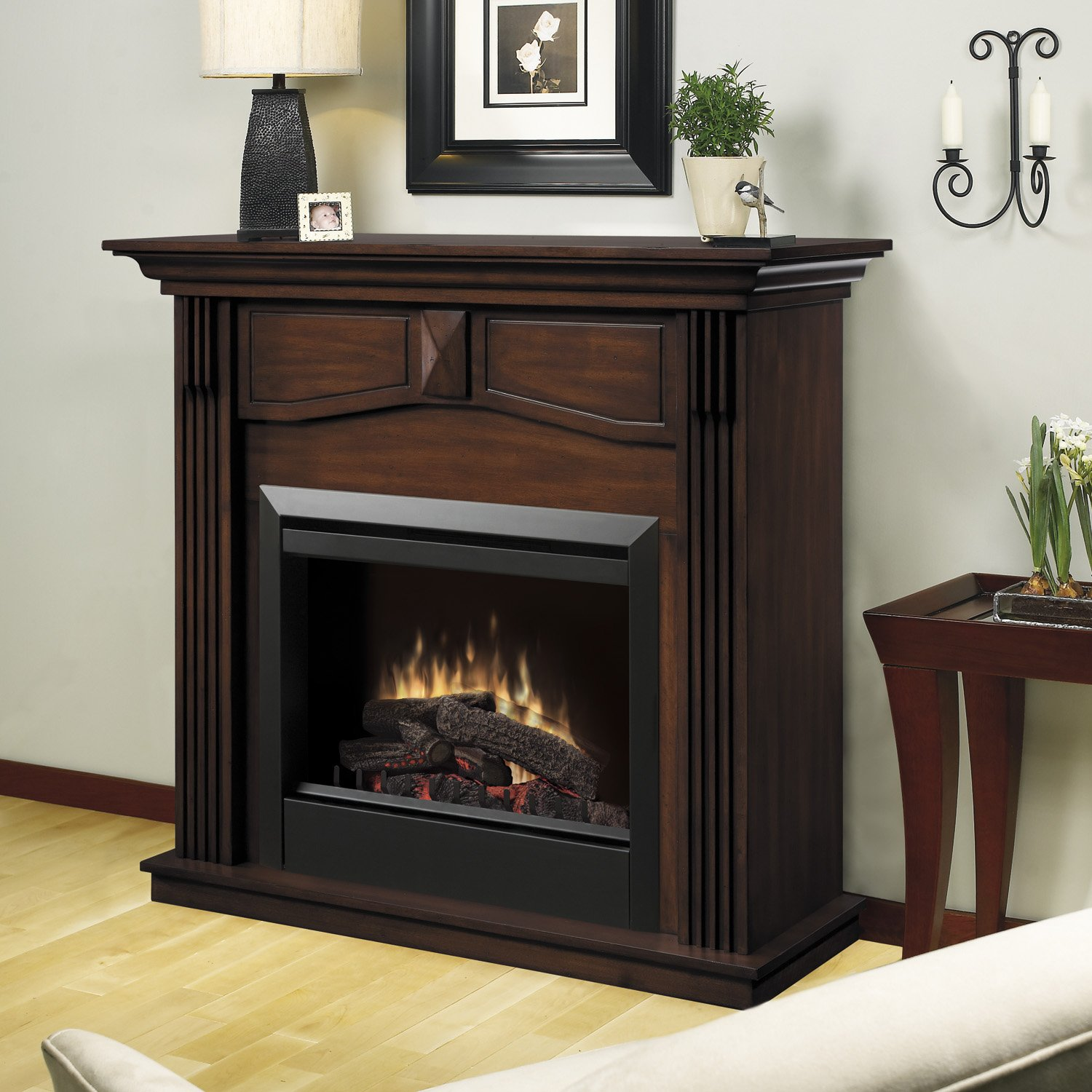 Amazon.com: Dimplex Holbrook DFP4765BW Traditional Electric Fireplace  Mantle With 23 Inch Firebox, Burnished Walnut: Home U0026 Kitchen