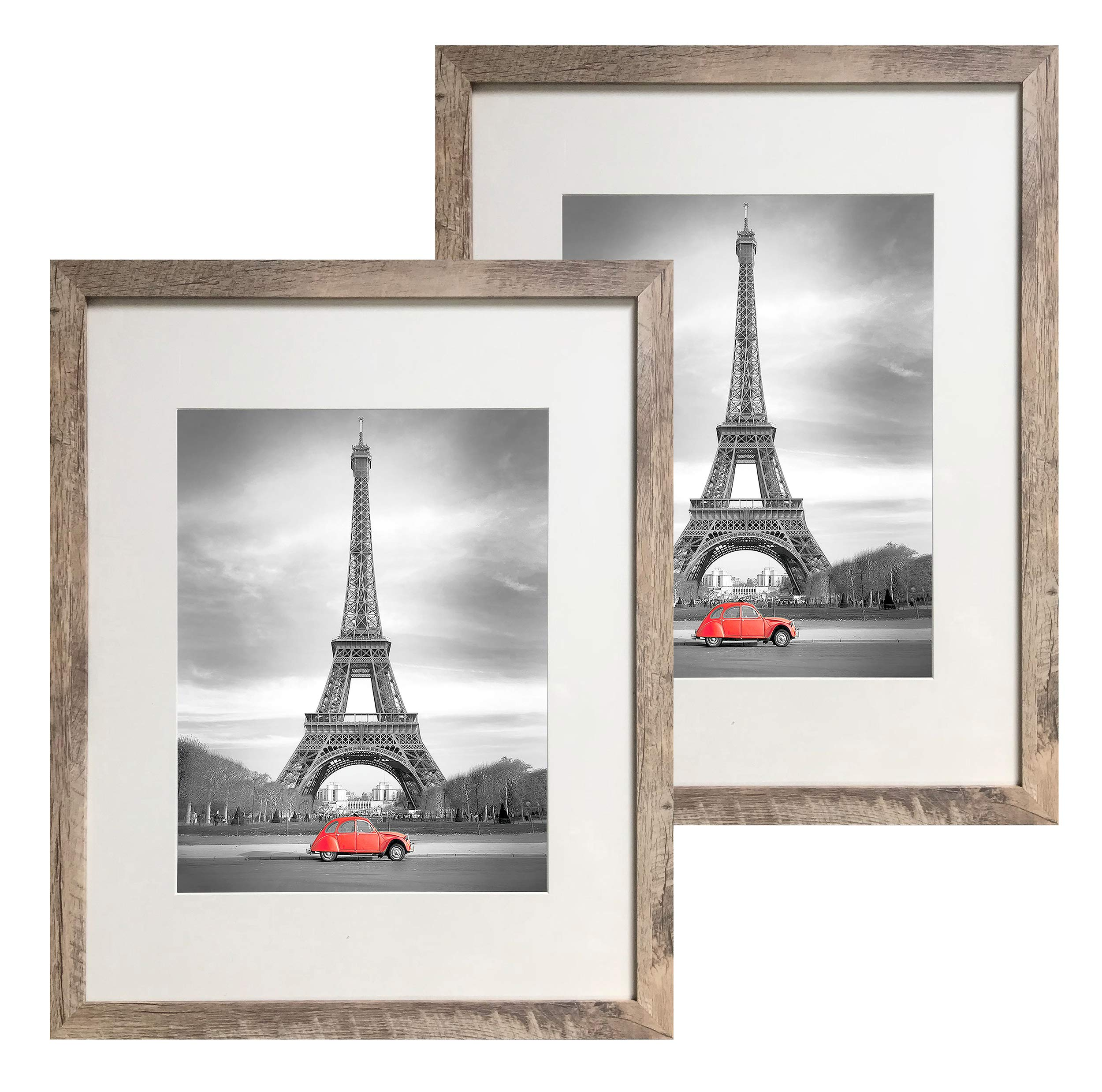 Art Emotion Rustic Oak Style Picture Frame, 2MM Reinforced Glass, Light Oak Finish 16x20 Frame for 11x14 Photos (16x20 Without MAT), Hangers Included for Horizontal or Vertical Hanging, Pack of 2 by Art Emotion