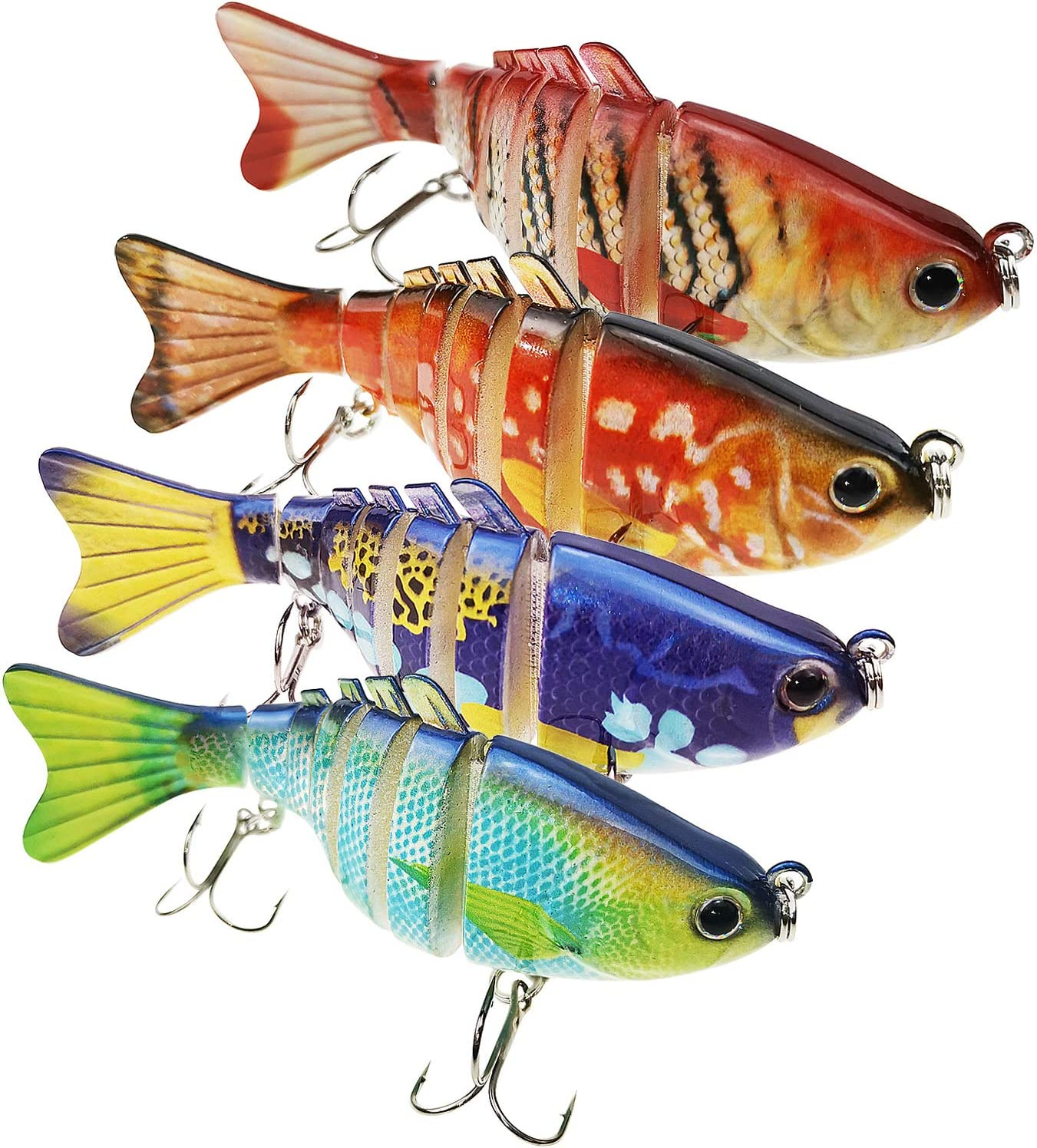 4pcs Colorful Mini Fishing Lures CrankBaits Slow Sinking Rattles Paxipa