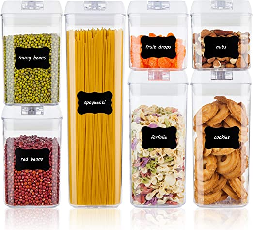 Airtight Food Storage Containers, Vtopmart 7 Pieces BPA Free Plastic Cereal  Containers with Easy Lock Lids, for Kitchen Pantry Organization and ...