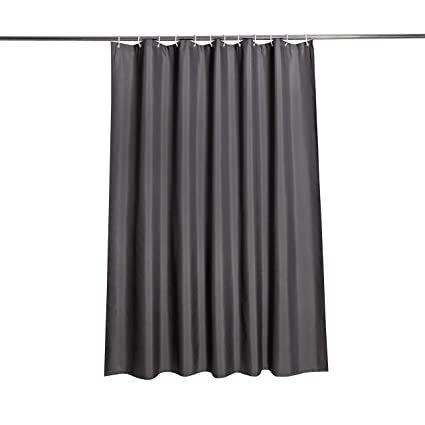 EurCross Dark Grey Shower CurtainMildew Resistant Thick Fabric Curtain Bathroom With Metal Grommets