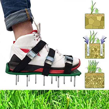 Lawn Grass Sod Aerator Shoes Spikes Aerating Sandals Garden Tool 4 Straps Green
