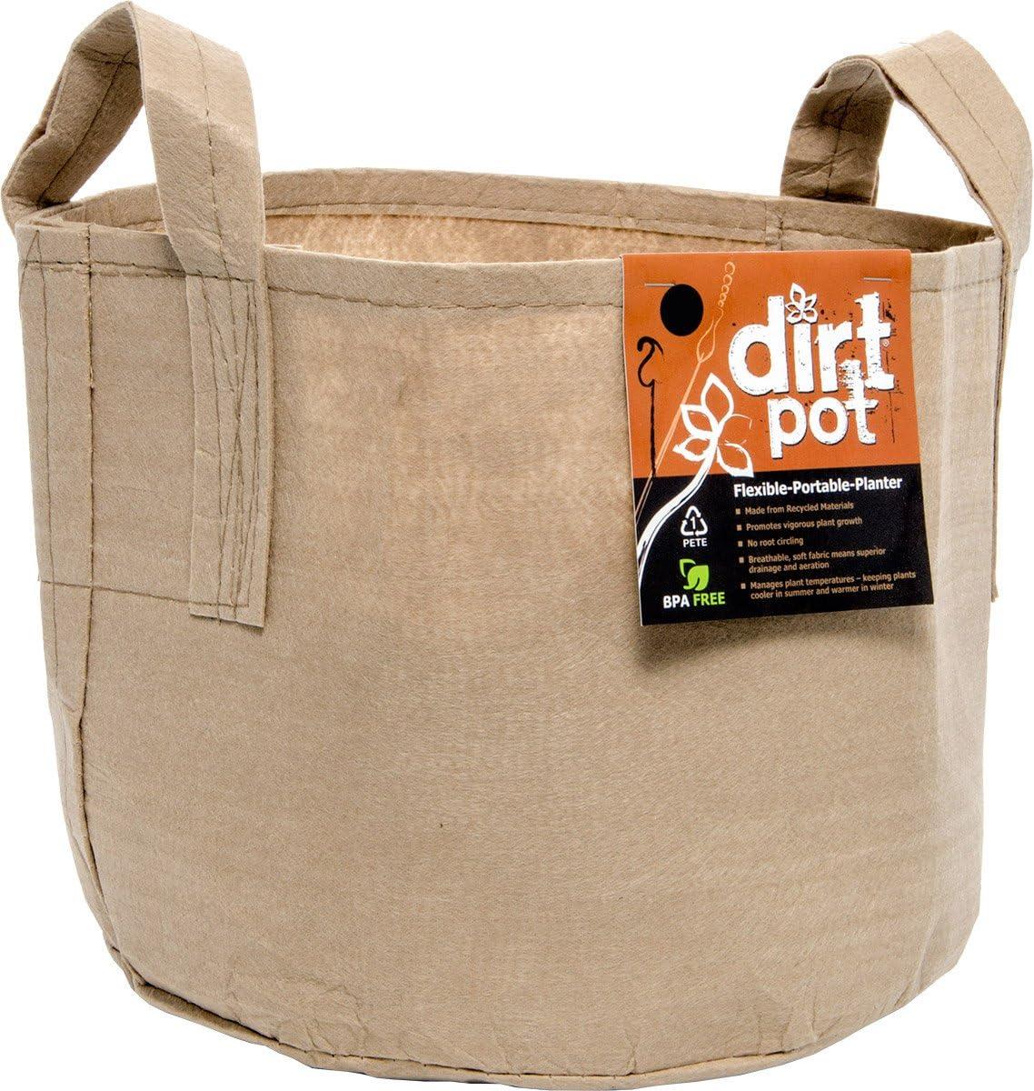 Hydrofarm HGDBT20H Dirt Pot with Handle, 20 Gallon, Tan Flexible Portable Fabric Planter, 20 gal