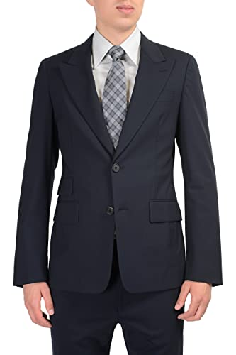 880e8ddd884f92 Prada Wool Black Two Buttons Men's Suit US 36R IT 46R at Amazon Men's  Clothing store: