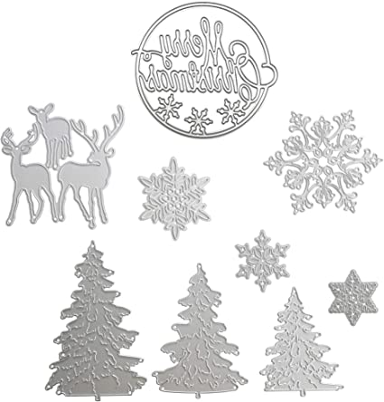 4 Pack Christmas Snowflake Craft Metal Cutting Dies Scrapbooking Stencils Template for DIY Album Photo Embossing Decorative Paper Card