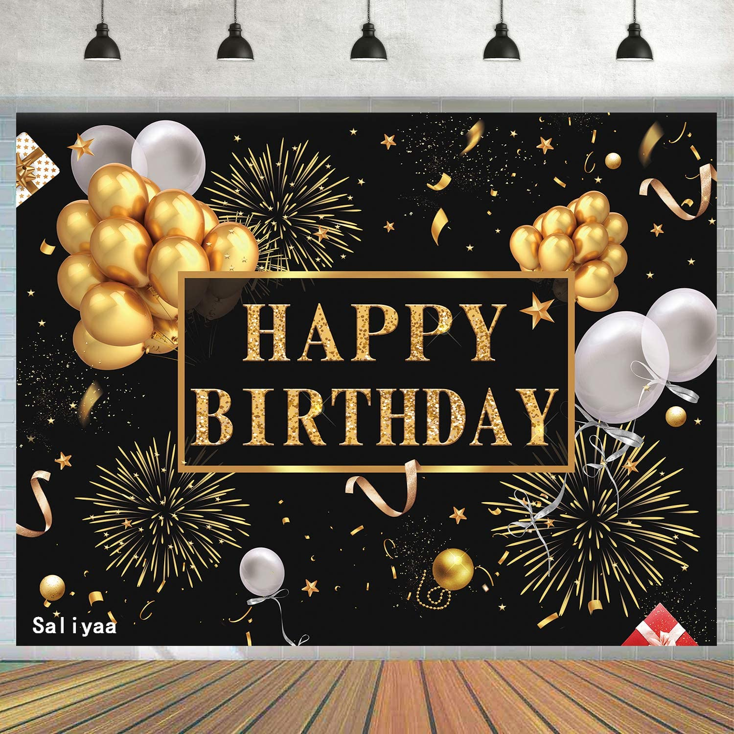 Saliyaa 7x5ft Happy Birthday Backdrop Golden Balloons Stars Fireworks Party Decoration, Black Gold Sign Poster Photo Booth Backdrop Background Banner for Men Women 30th 40th 50th 60th 70th 80th Bday Party Supplies