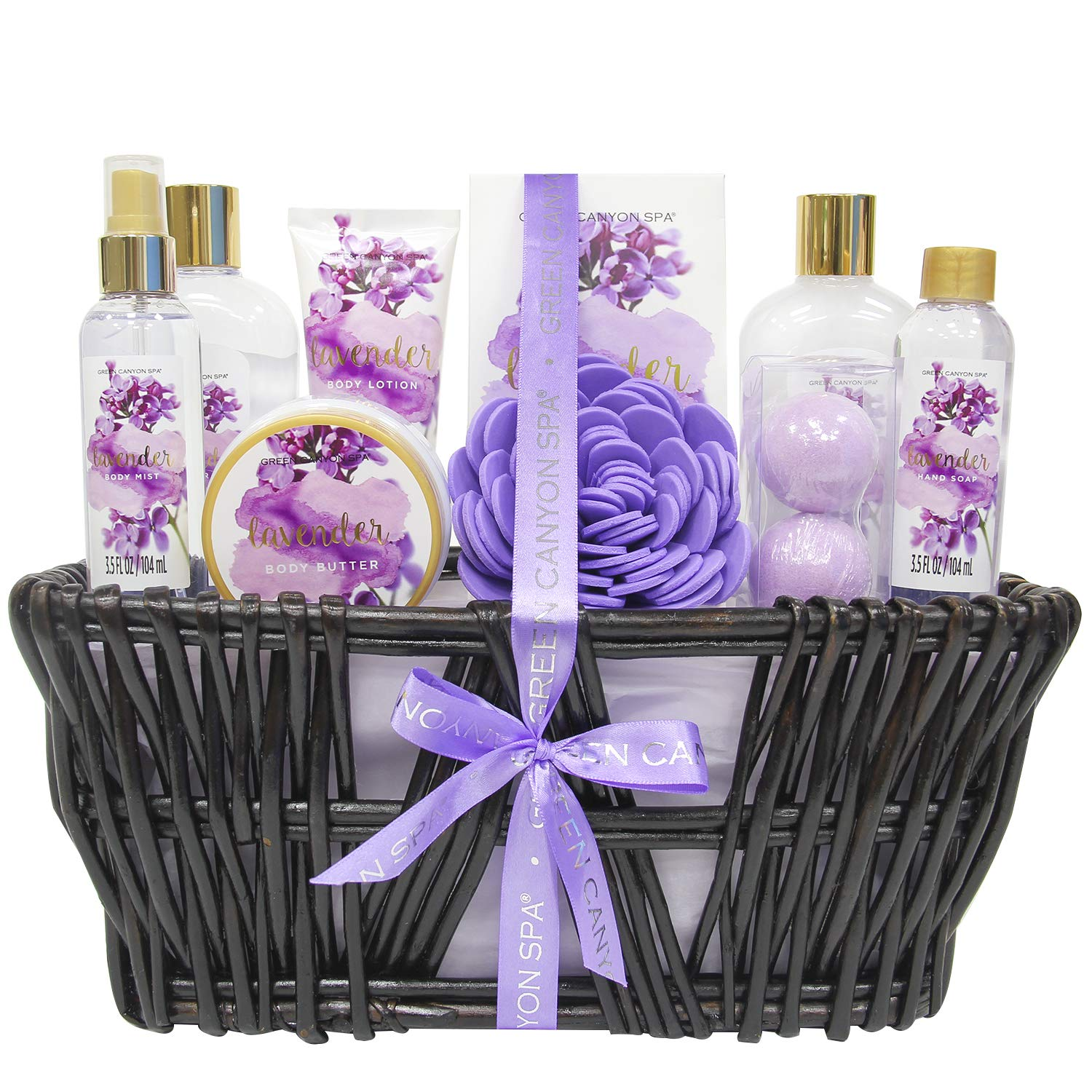 Green Canyon Spa Lavender Spa Gift Baskets for Women, Christmas / Birthday Gift Ideas 10 Pcs Spa Gift Sets with Handmade Weaved Basket