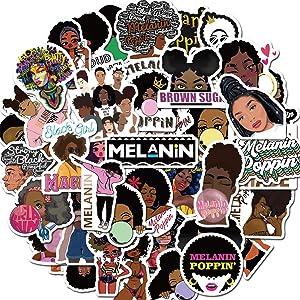 50Pcs Inspirational Black Girl Melanin Poppin Stickers Waterproof Vinyl Stickers for Water Bottle Luggage Bike Car Decals (Melanin Poppin)
