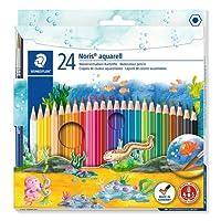 Staedtler Noris Club 144 10NC24 Aquarell-Buntstifte, erhöhte Bruchfestigkeit, sechskant, Set mit 24 brillanten Farben, kindgerecht nach EN71, PEFC-Holz