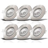 B.K.Licht I Set van 6 LED inbouwspots I Zwenkbaar I Ultra plat 24mm I Ø90mm I Mattnikkel I 6 x 5W LED boards I 460 Lumen…
