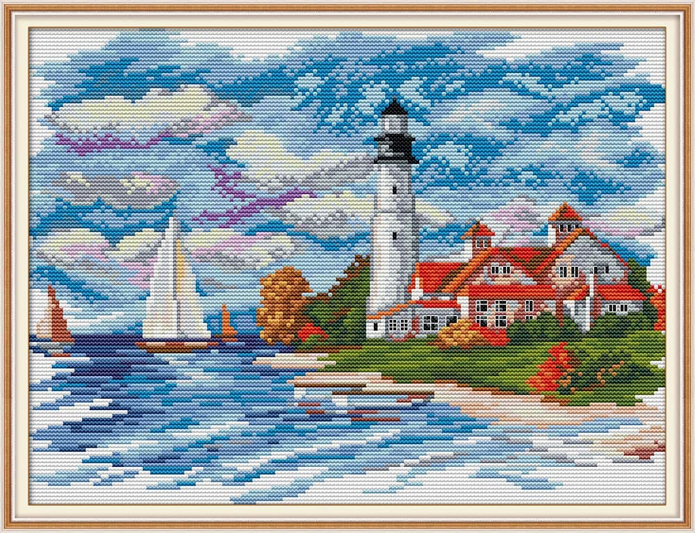 Seaside Lighthouse Stamped Cross Stitch Kit DIY Art Crafts /& Sewing Needlepoints Kit for Beginners Kids Adults Embroidery Cross-Stitching Lovers