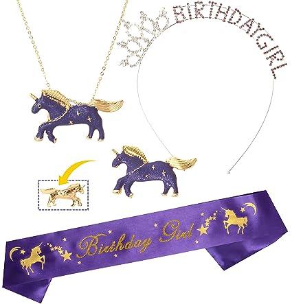 Amazon.com: Diadema de unicornio con corona y corona para ...