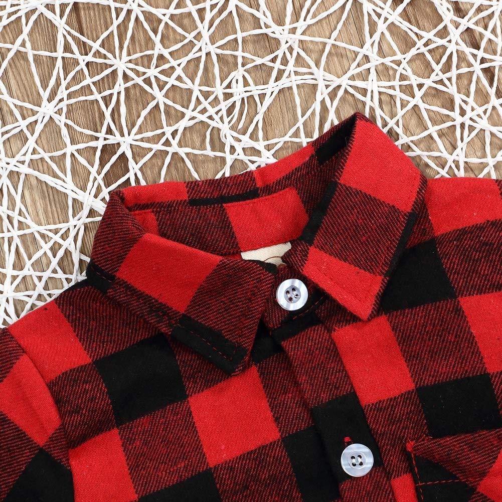 bd0c955f6e66 Amazon.com: Newborn Baby Girl Boy Blouse Plaid Deer Plaid Flannel Romper  Bodysuit Clothes: Clothing