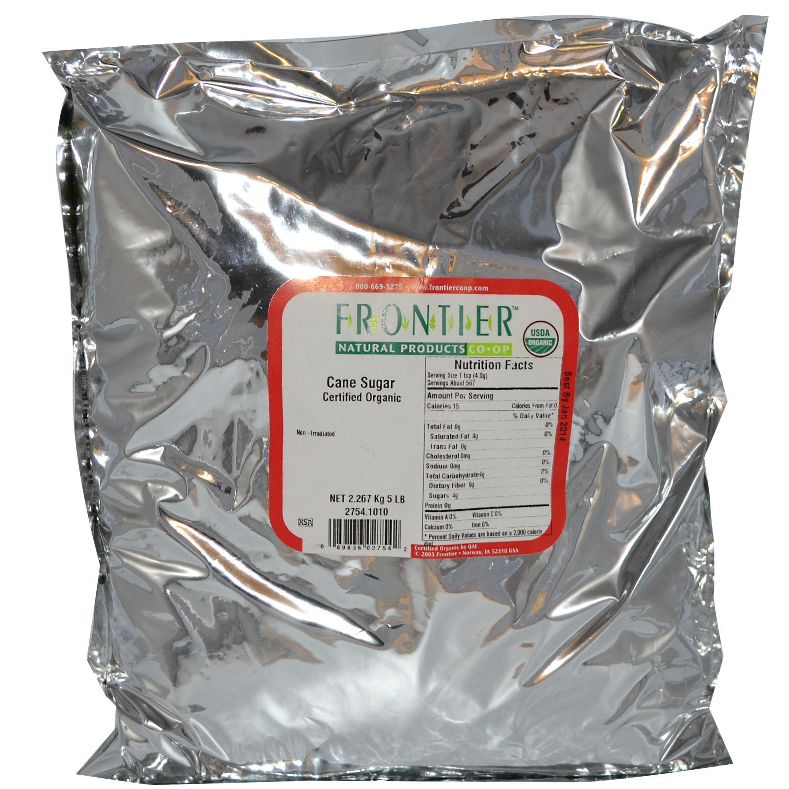 Frontier Natural Products Organic Cane Sugar -- 5 lbs