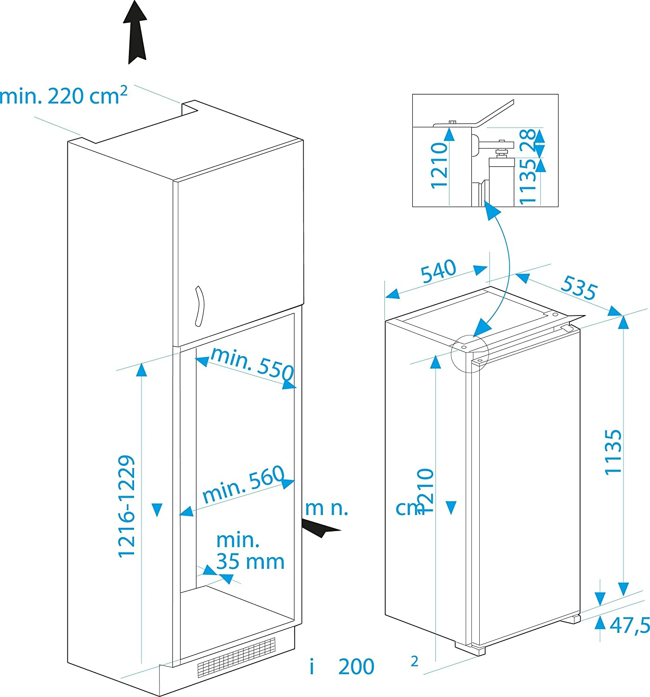 Beko RBI 2301 Integrierbarer Kühlschrank A 121 cm Höhe 216