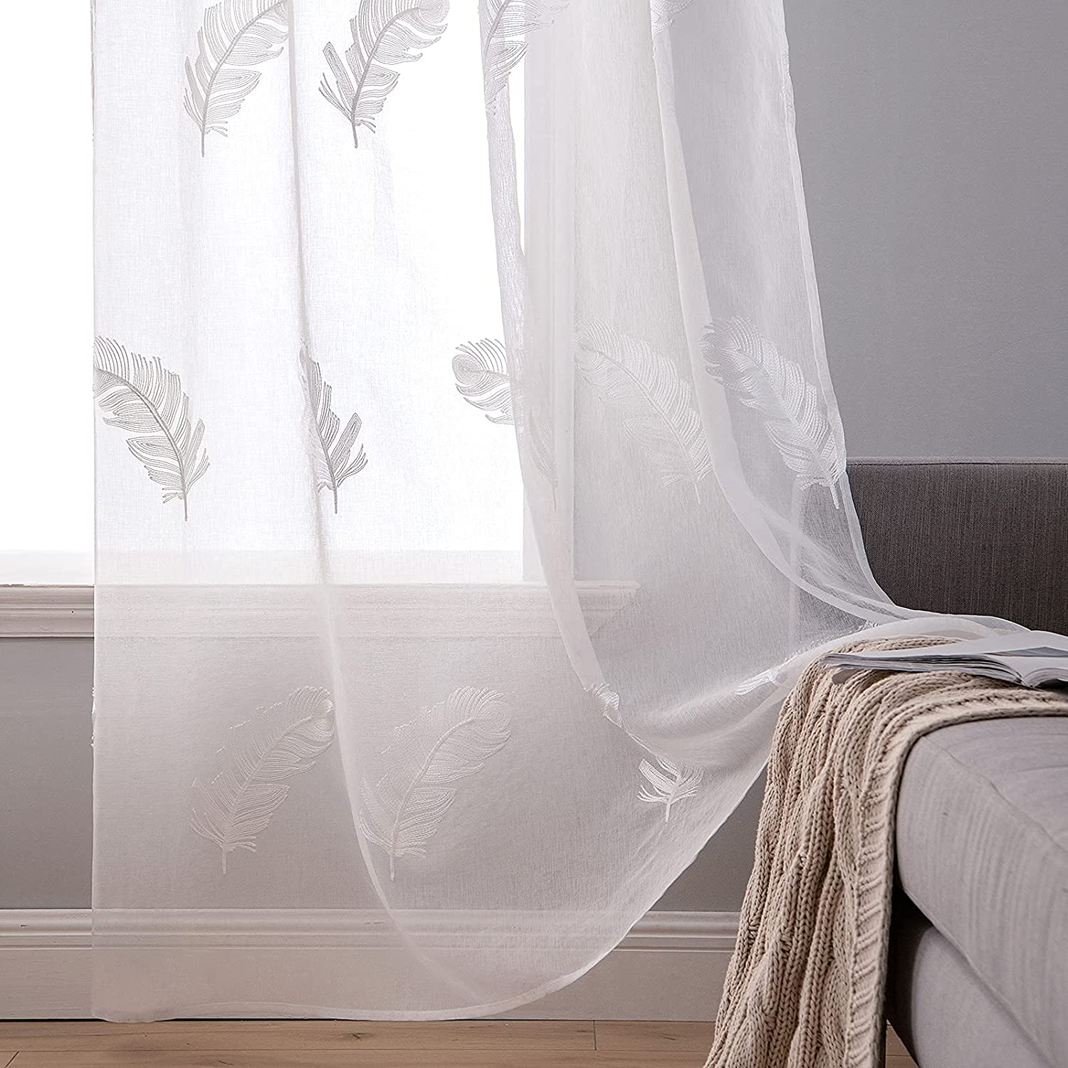 """MIULEE 2 Panels Embroidered Sheer Window Feather Design Grommet Curtains Window Voile Panels/Drape/Treatment for Bedroom Living Room Feather White 55"""" Wx96 L 55""""Wx96""""L White"""