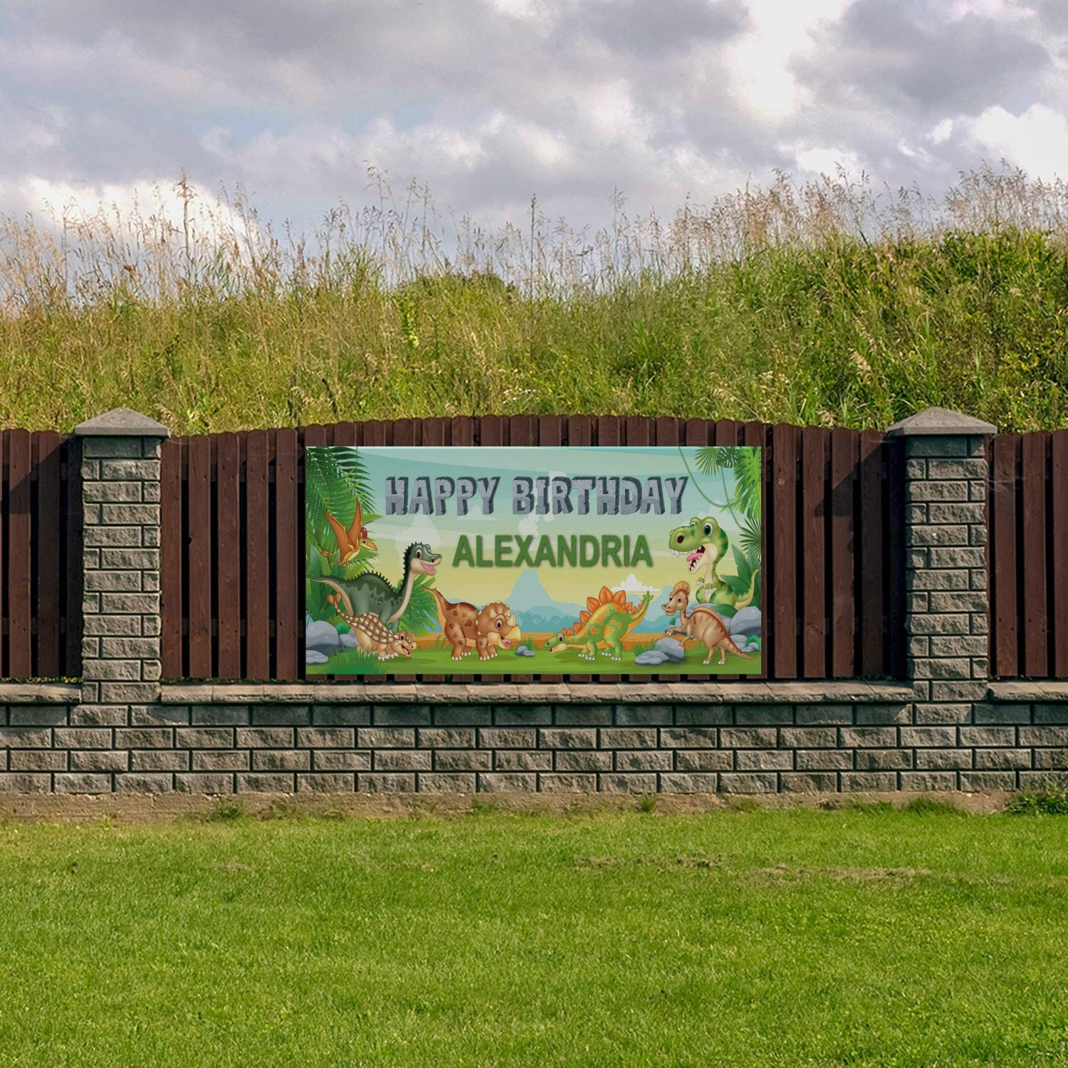 HALF PRICE BANNERS|Custom Birthday Dinosaur Vinyl Banner-Heavy Duty Outdoor 4X12 foot-Green|Includes Ball Bungees /& Zip Tie|Easy Hang Sign-Made in USA