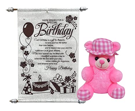 98f27c0b40e6 Buy Saugat Traders Birthday Gift Combo of Teddy Bear with Birthday Scroll  Card for Girlfriend