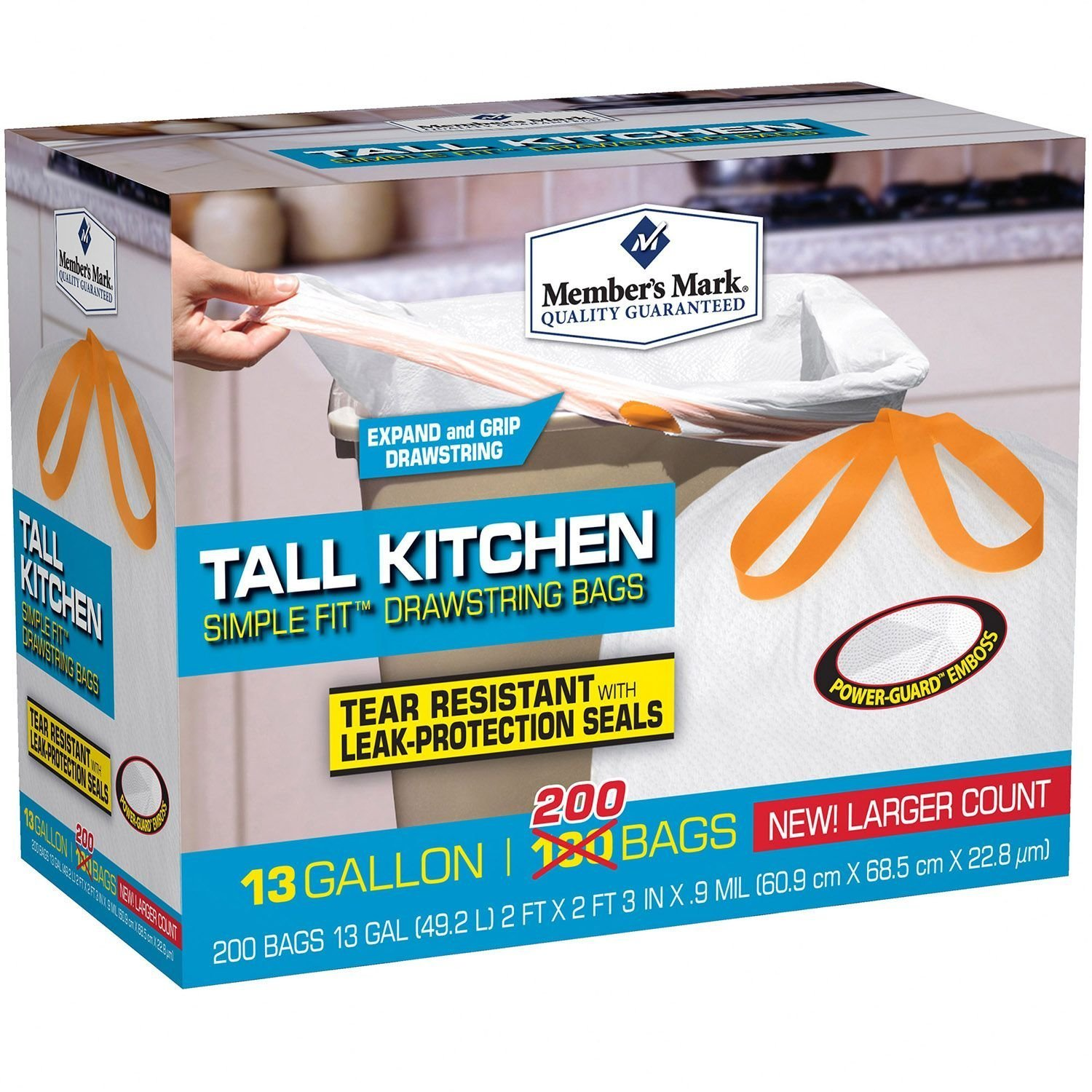 amazoncom members mark tall kitchen simple fit drawstring bags home kitchen - Tall Kitchen Trash Bags