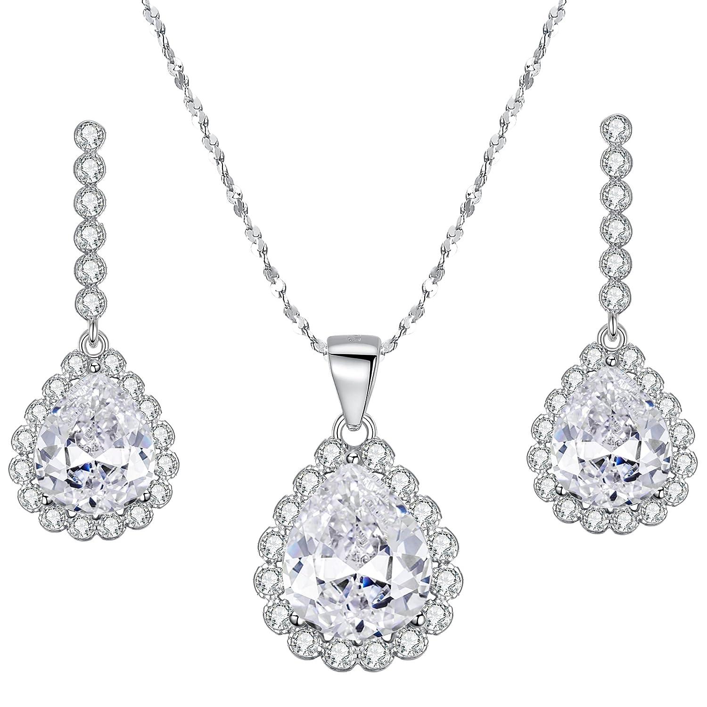 3ba623443 Amazon.com: EleQueen 925 Sterling Silver Full Cubic Zirconia Teardrop  Pendant Necklace Bridal Drop Earrings Set Clear: Jewelry