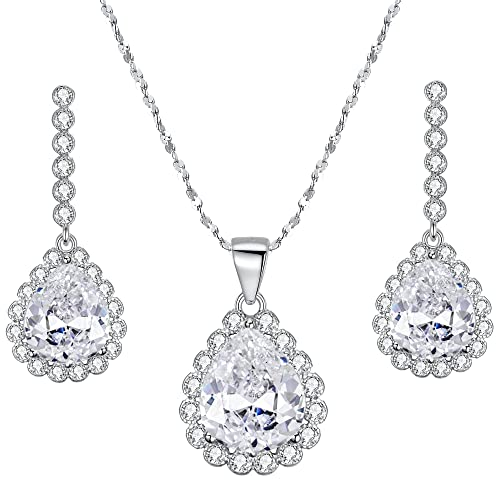 206e2bb8c Image Unavailable. Image not available for. Color: EleQueen 925 Sterling  Silver Full Cubic Zirconia Teardrop Pendant Necklace Bridal Drop Earrings  Set Clear